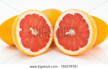 Juicy Grapefruit On White Background