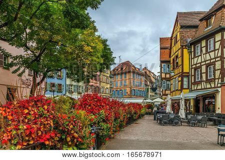 Historic houses and flowers in Colmar city center Alsace France