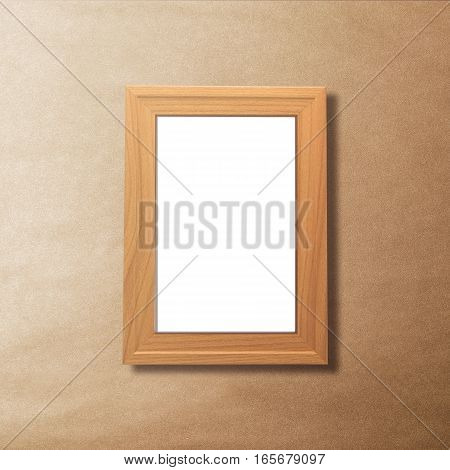 Blank wood frame on old vintage wall background