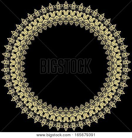 Elegant vector golden round ornament in classic style. Abstract traditional pattern with oriental elements, Classic vintage pattern