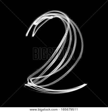 The number - 2 written with light at night
