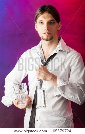 Barman With Bottle And Glasses.