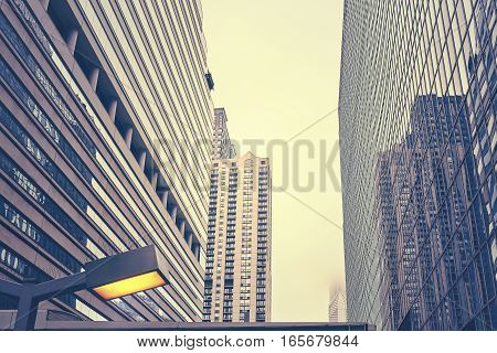 Color Toned Chicago Skyscrapers On A Cloudy Day, Usa
