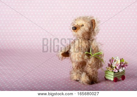 Teddy bear carries a cart with flowers on a pink polka dot background.