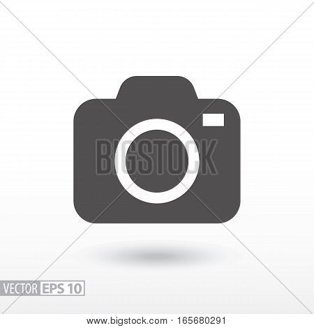 Camera flat icon. Sign Camera. Vector logo for web design, mobile and infographics. Vector illustration eps10. Isolated on white background.