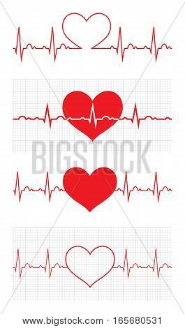 Heart beat cardiogram. Sign Cardiac cycle. Creative concept of world heart day. Vector illustration. Isolated on white background. Set