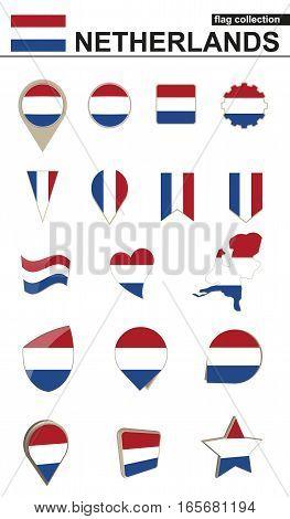 Netherlands Flag Collection. Big set for design. Vector Illustration.