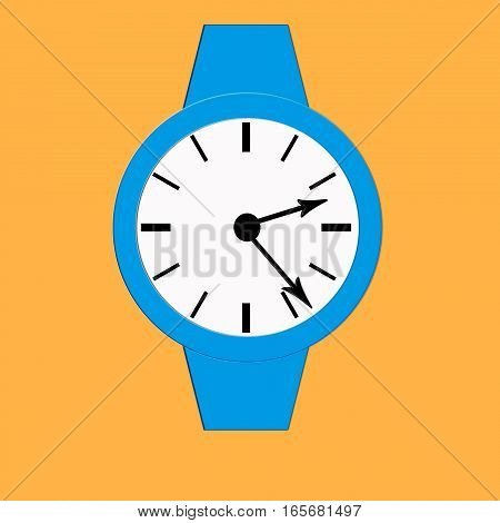 Clock icon, illustration of a flat design with long shadow.  blue clock, yellow background