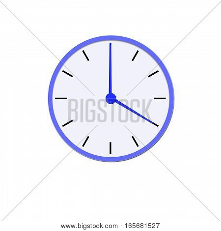 Clock icon, illustration of a flat design with long shadow.  blue clock, no background