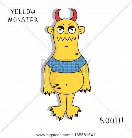 Monster mutant cartoon doodle character vector illustration