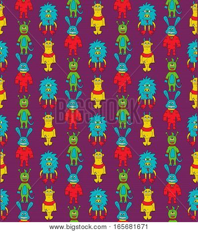 Monsters cute mutants childish colorful cute seamless vector pattern