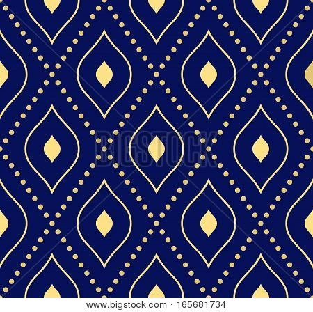 Geometric dotted vector blue and golden pattern. Seamless abstract modern texture for wallpapers and backgrounds