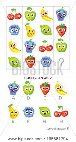 IQ test. Choose correct answer. Logical tasks composed of colored fruits. Funny cartoon character. Vector illustration