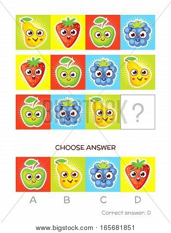 IQ test. Choose correct answer. Logical tasks made up of color fruits. Funny cartoon character. Vector illustration