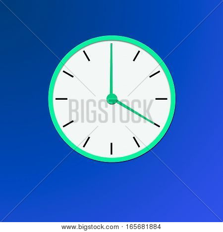 Clock icon, illustration of a flat design with long shadow. green clock   blue background