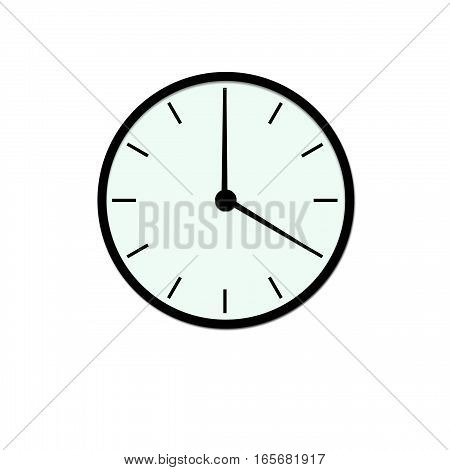 Clock icon, illustration of a flat design with long shadow.   black clock , no background