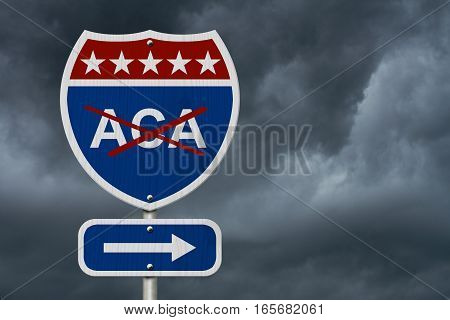 Repealing and replacing the Affordable Care Act healthcare insurance Red white and blue interstate highway road sign with words ACA marked out with stormy sky background 3D Illustration