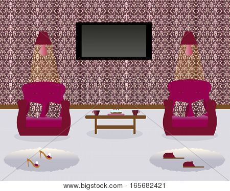 A living room with a coffee table.Turned on lamps on the wall. Two armchairs witn decorative pillows. Cake. Cups.Сarpets. Sexy cute slippers with high heels. Flat screen TV. Vector illustration.
