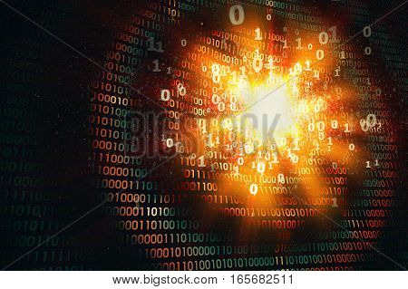 hacking computer security, ddos attack, abstract orange binary background, 3d illustration