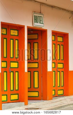 colourful hotel entrance doors closeup in Colombia