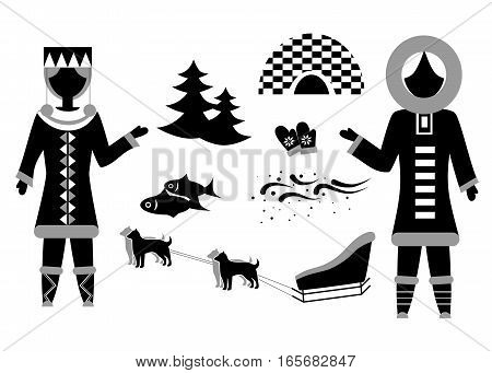 set in the style of a flat design on the theme of Eskimo.