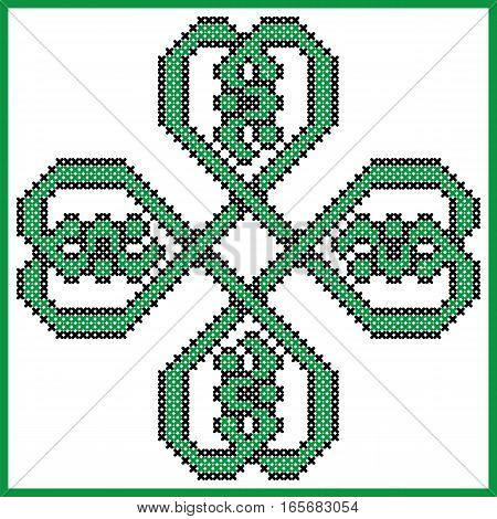 Celtic style endless knot pattern in  clover shape with hearts elements in tile, in  black and green cross stitch  inspired by Irish St Patrick's day and ancient Scottish culture
