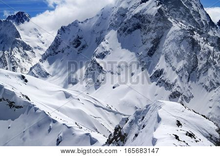 Winter Mountains With Snow Cornice In Nice Sun Day