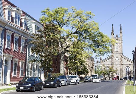 One of Saint John town street view with a cathedral in a background (New Brunswick Canada).