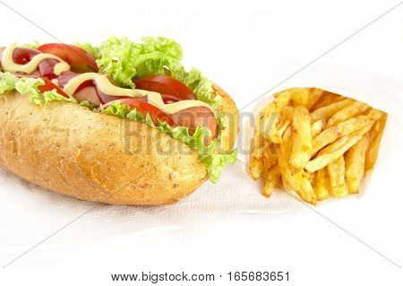 Cut Image-classic Hotdog With Chips On Serviette On White