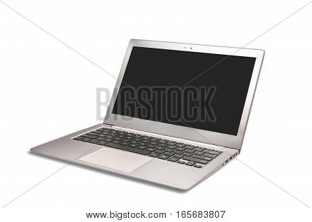 Modern laptop with blank white screen isolated on white background