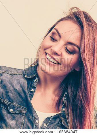 Happy Smiling Woman Wearing Jeans