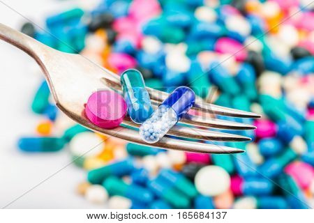 Pills On A Fork. Tablets And Pils. Scattered Pills.