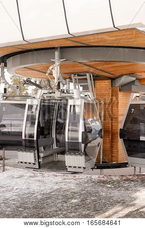 Empty cable car with a caucasian mountain