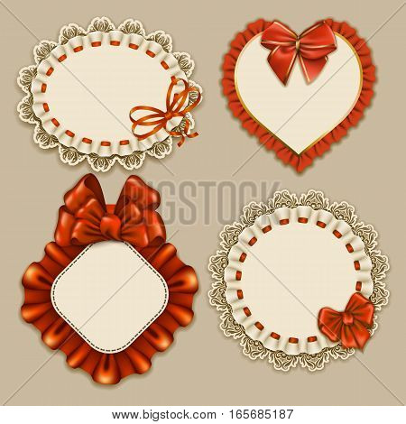 Set of elegant templates ornate frames for design luxury invitation, gift, greeting card, postcard with lace ornament, ruffles, orange bows, ribbons, place for text. Vector illustration EPS10