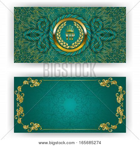 Elegant template for luxury invitation, gift card with rope decor, lace ornament, crown, ribbon, laurel wreath, drapery fabric, place for text. Floral elements, ornate background. Illustration EPS 10.