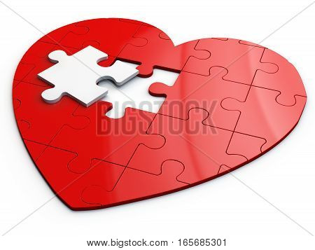 Red Puzzle Heart With White Piece