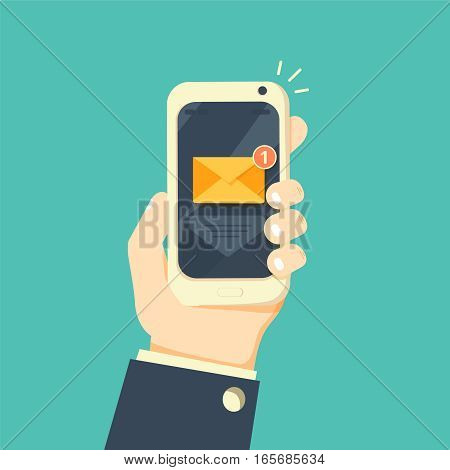 New email notification on mobile phone vector illustration, smartphone screen with new unread e-mail message and read mail envelope icons, inbox concept