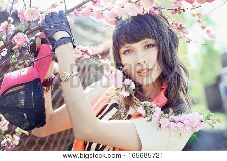Beautiful, Fashion Woman With Cherry Blossoms