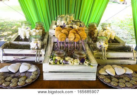 Stylish candy bar for  wedding. Provence style -  beautiful shoot