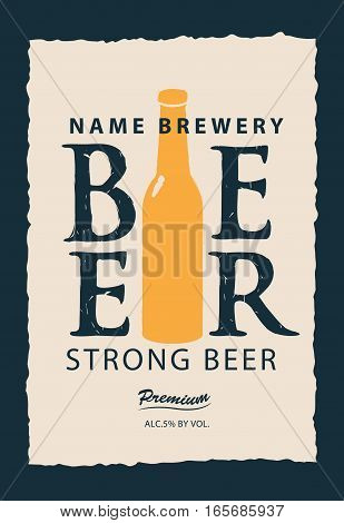 vector label for beer with a bottle