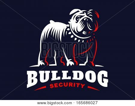 Bulldog logo - vector illustration, emblem design on dark background
