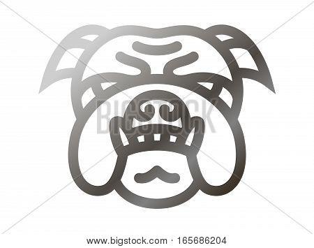 Head Bulldog icon - vector illustration on white background