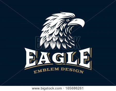 Eagle head logo - vector illustration, emblem design on dark background
