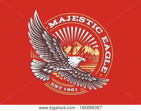 Eagle logo - vector illustration, emblem design on red background