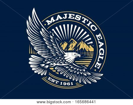 Eagle logo - vector illustration, emblem design on dark background