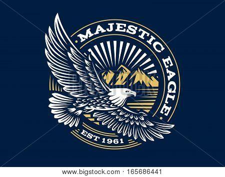 Eagle logo - vector illustration, emblem design on dark background