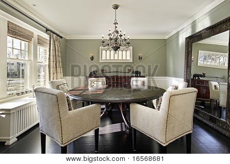 Dining room in luxury home with olive walls poster