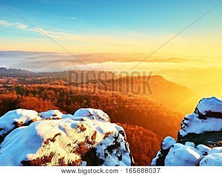 Chilli Day In Rocks. Rocky Peak Of Mountain In Winter Day.
