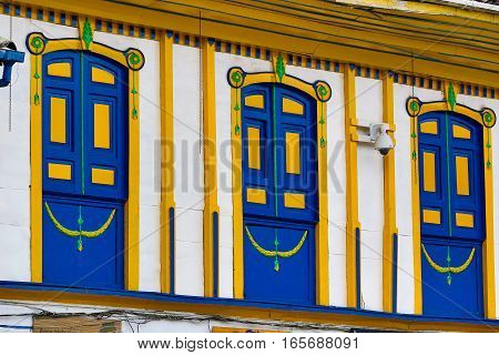 colourful colonial architectural details in Salento Colombia