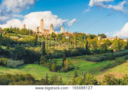 San Gimignano before sunset a historical town in Tuscany Italy